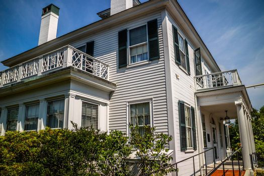 Augusta, ME, USA - August 8, 2018: The outside premised of Blaine's House