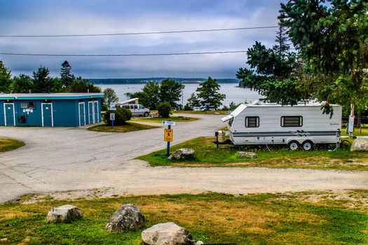 Bar Harbor, ME, USA - August 14, 2018: Enjoying the captivated view from our RV