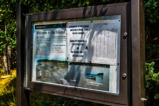 Bar Harbor, ME, USA - August 19, 2018: A welcoming signboard at the entry point of the preserve park
