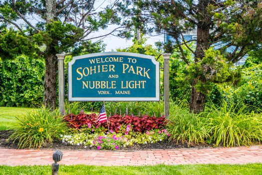 York, ME, USA - August 25, 2018: A welcoming signboard at the entry point of Sohier Park