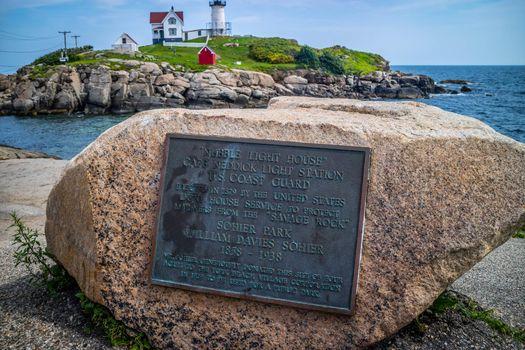 York, ME, USA - August 25, 2018: The Nubble Light stone marker