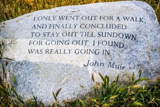 Palm Spring, CA, USA - April 9, 2017: A John Muir headstone quote marker