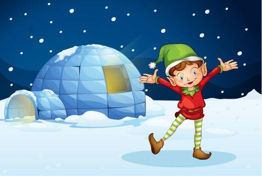 an elf and an igloo