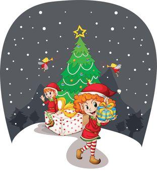 girls celebrating christmas
