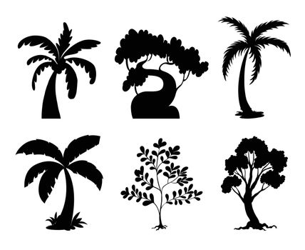 Illustration of tree and plant silhouettes