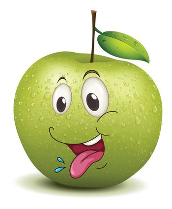 illustration of hungry apple smiley on a white