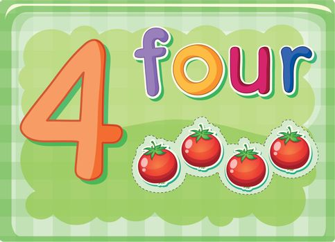 Illustrated flash card showing the number 4