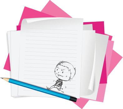 illustration of white papers on a white background