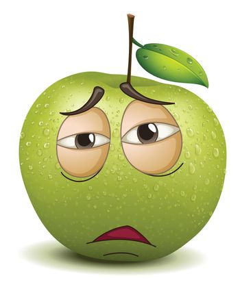 illustration of a sad apple smiley on a white background