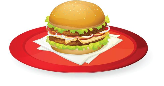 illustration of burger in red dish on white
