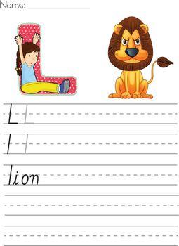 Alphabet worksheet of the letter L