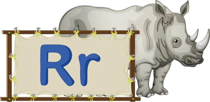 Alphabet letter illustration on a brown canvas