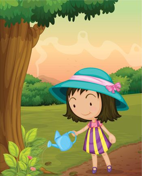 Illustration of girl watering garden