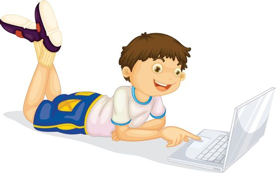 illustration of a boy and laptop on a white