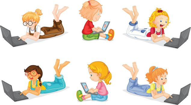 illustration of a laptops and girls on a white background