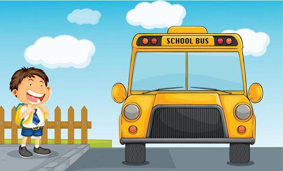 illustration of school bus and boy
