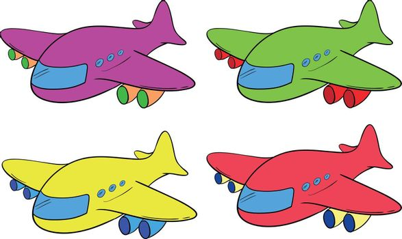 Four planes on a white background
