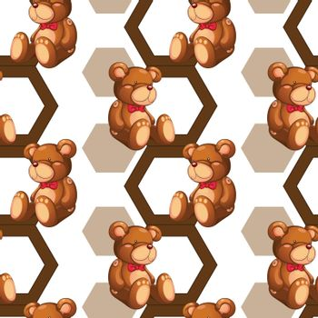 illustration of an array of teddy bear on white