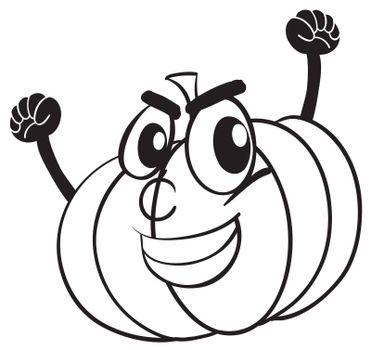 illustration of a smiling pumpkin face on white