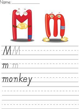 Illustrated alphabet worksheet of the letter m
