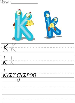 Illustrated alphabet worksheet of the letter k