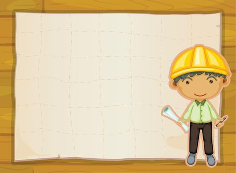 illustration of an engineer boy on a yellow background