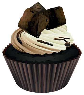 Illustration of an isolated cupcake on white background