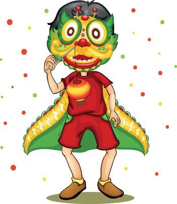 Illustration of a child wearing chinese dragon mask