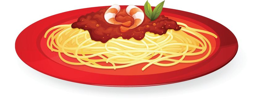 illustration of a plate of pasta on a white background