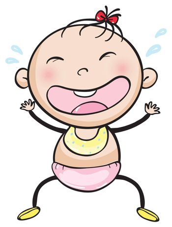 illustrtion of a baby on a white background