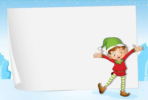 Illustration of an elf on christmas paper background