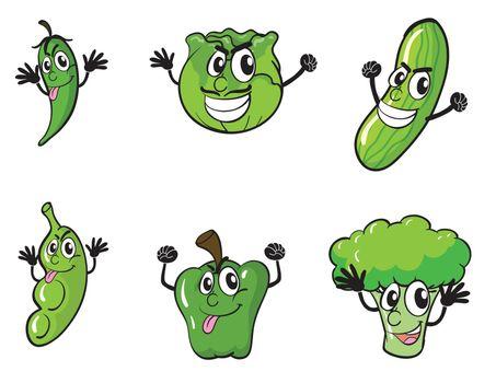 illustration of various vegetables on a blue background