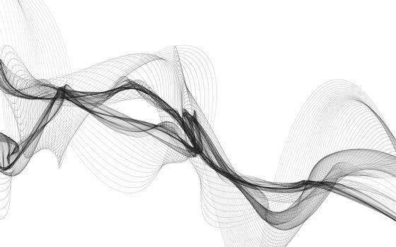 Abstract background with monochrome wave lines on white background.