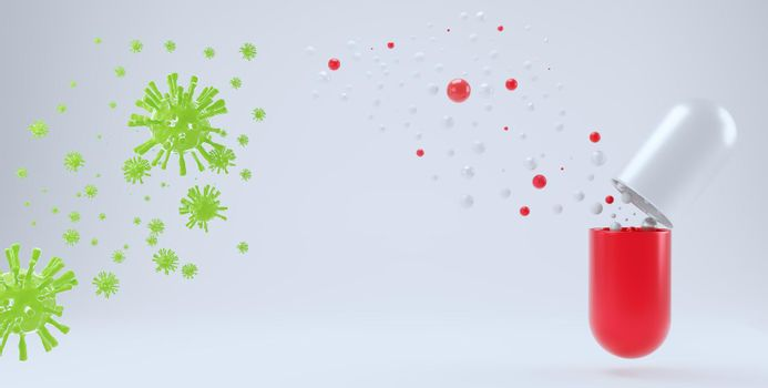 Abstract medicine capsule with dispersed drug particles to fight germs. Research concept for anti coronavirus and other pathogens white isolated background with copy space. 3d rendering.
