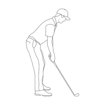 Golf. Contoured silhouette of a male golfer. Silhouette of a golfer athlete. Flat Style