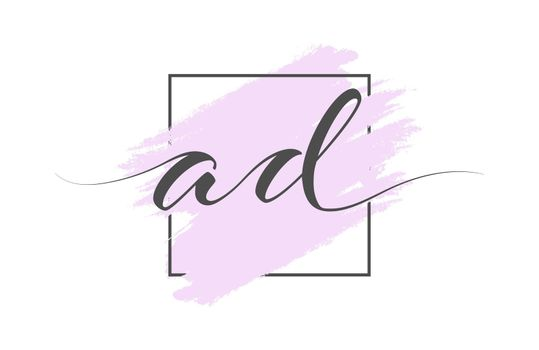 Calligraphic lowercase letters AD on a colored background in a frame. Simple Style