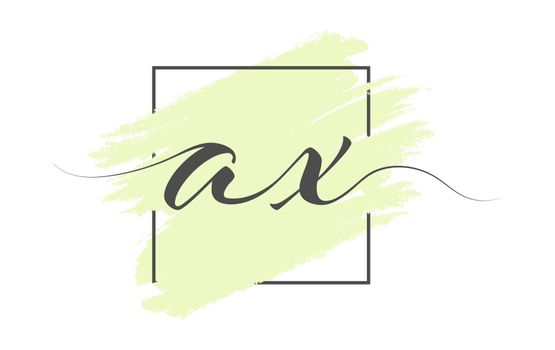 Calligraphic lowercase letters AX on a colored background in a frame. Simple Style