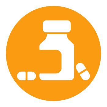 Medicine bottle and pills vector white glyph icon. Medicament