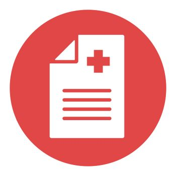 Medical report, clinical record vector white glyph icon