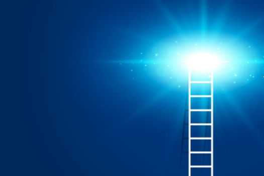 climbing ladder with glowing light background