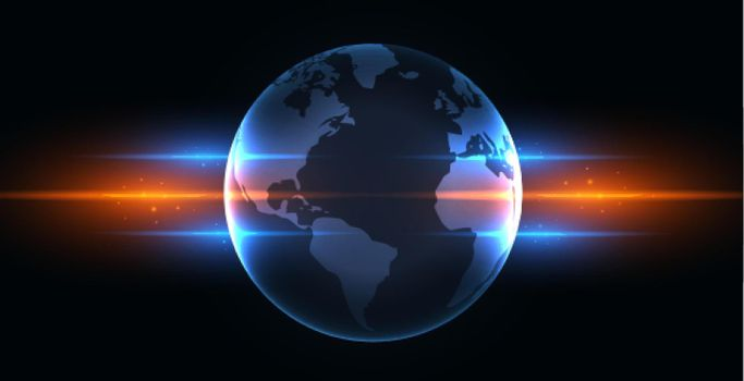 earth with blue and orange glowing lights
