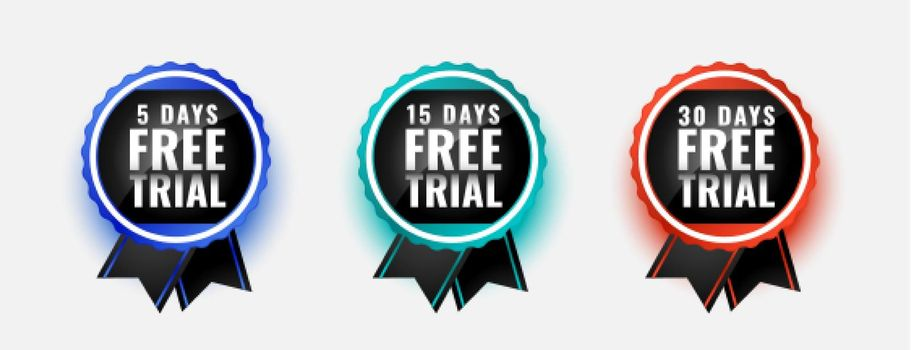 free trial badge stamps for 5 10 and 30 days
