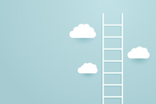 Ladder climb up the sky with clouds background