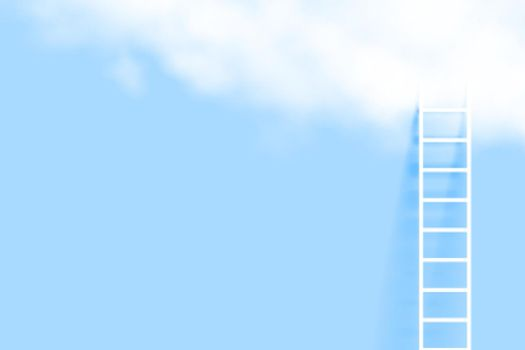 minimal ladder and realistic cloud background