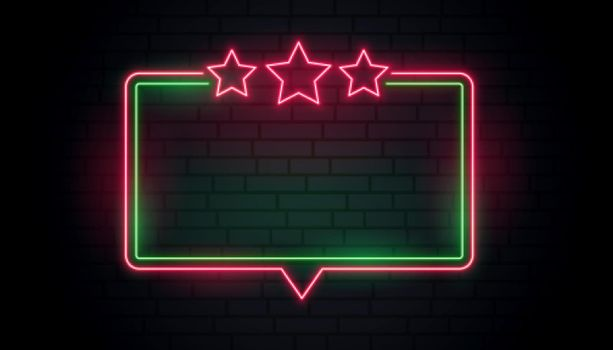 neon frame with red stars