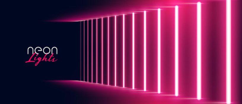 neon light effect pathway red banner design