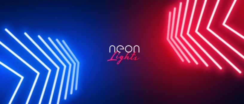 red and blue neon arrow wide wallpaper