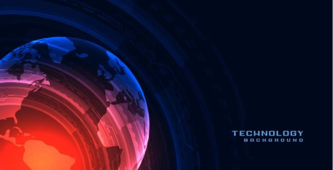 technology banner with earth shape
