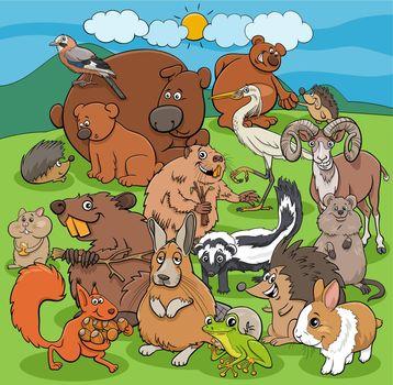 cartoon wild animals comic characters group