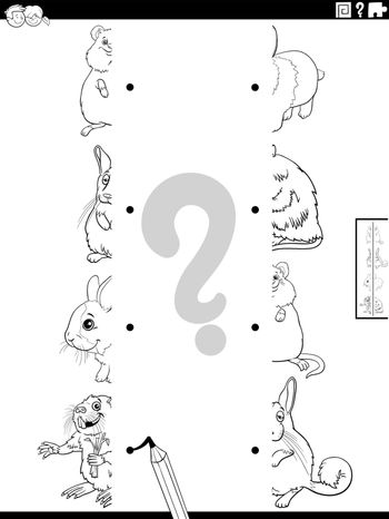 match halves of animals pictures coloring book page